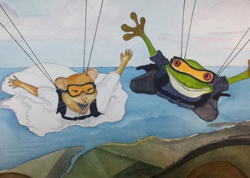 Ginger skydives with Toad