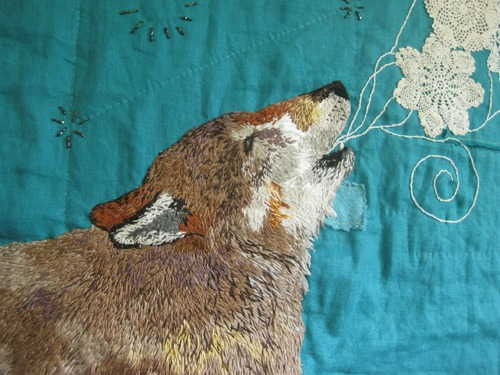 Wolf quilt detail