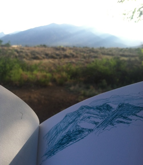 morning sketch of taos mtn