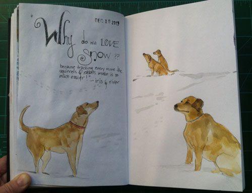 Snowy day dogs sketch